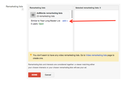 google adwords remarketing audience