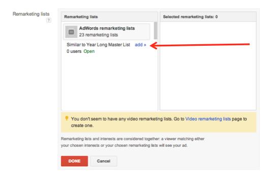 google adwords remarketing audience