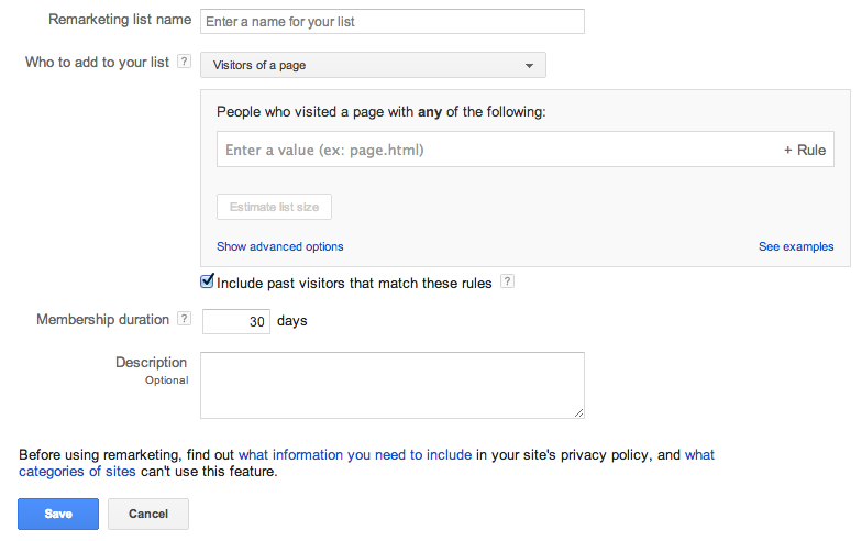 google remarketing list setup