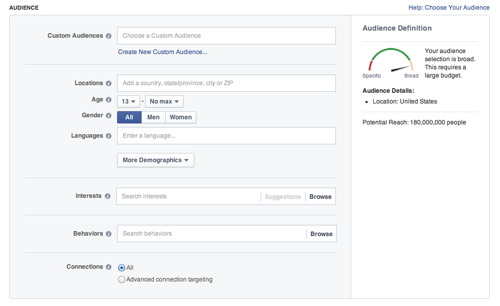 Facebook Advertising Targeting Options